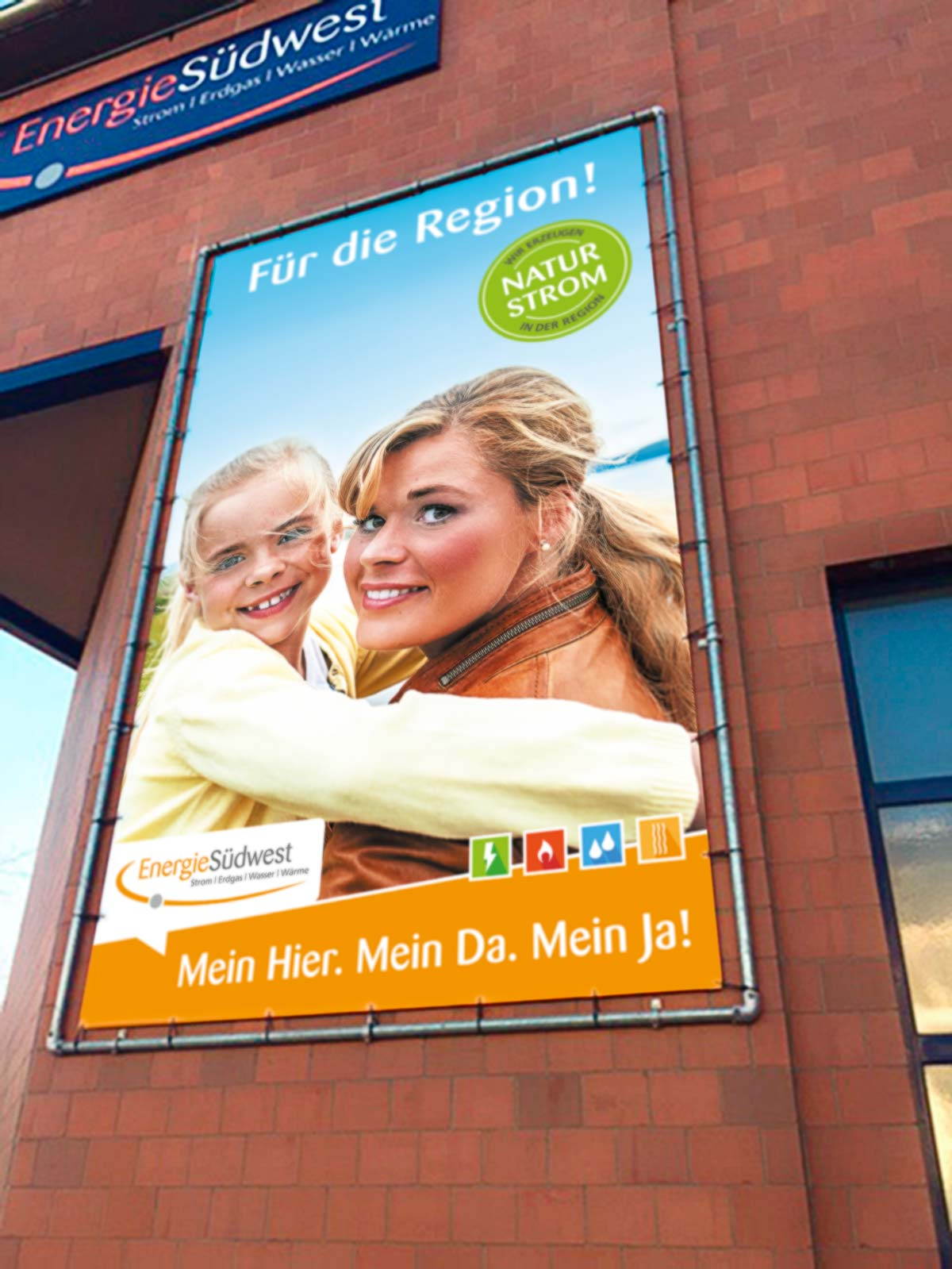 EnergieSüdwest AG, Strom,Werbemittel, Fassadenbanner