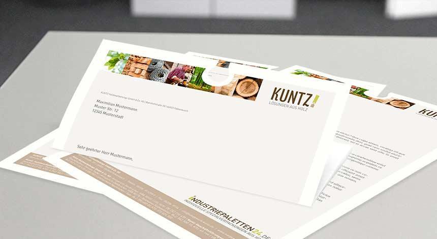 Kuntz Sägewerk, Industriepaletten24, Briefpapier
