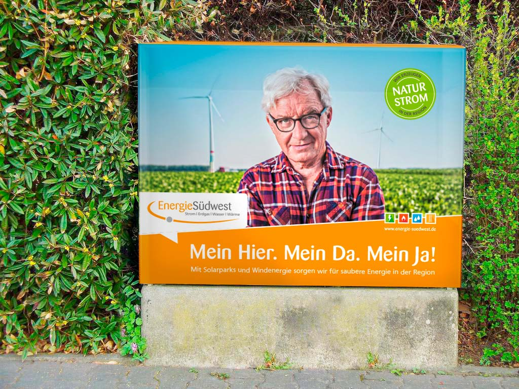 EnergieSüdwest AG, Strom,Werbemittel, Stromkastenhusse